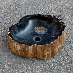 Vasque à poser 41-33 cm en bois pétrifié fossilisé intérieur noir (FOSS35-004BK)