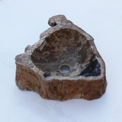 Vasque à poser 41-30 cm en bois pétrifié fossilisé (FOSS35-002YL)