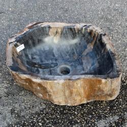Vasque à poser 45-34 cm en bois pétrifié fossilisé intérieur noir (FOSS55-002BK)