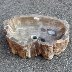 Vasque à poser 59-37 cm en bois pétrifié fossilisé (FOSS55-002YL)