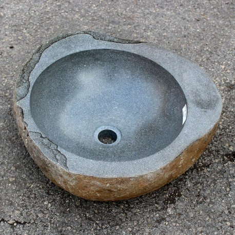 Vasque à poser en galet de rivière 46-45 cm porte savon (GAL55-001-SAVON)