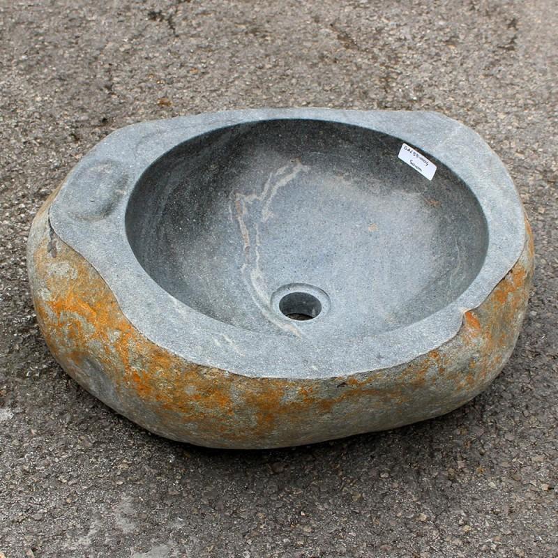 vasque a poser pierre de riviere Vasque à poser en galet de rivière 51-48 cm porte savon (GAL55-004-SAVON)