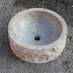 Vasque à poser Ø40 cm en pierre naturelle marbre (MARØ40-PIERRE-GR)
