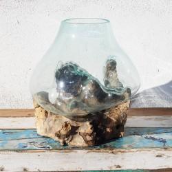 Vase en verre soufflé sur racine de Teck (VS-TECK-32)