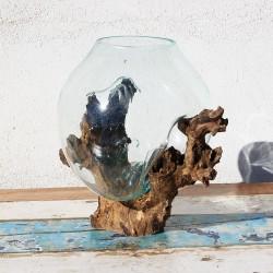 Vase en verre soufflé sur racine de Teck (VS-TECK-33)