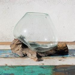 Vase en verre soufflé sur racine de Teck (VS-TECK-67)