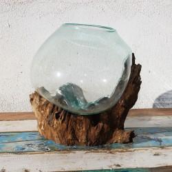 Vase en verre soufflé sur racine de Teck (VS-TECK-100)