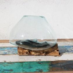 Vase en verre soufflé sur racine de Teck (VS-TECK-102)
