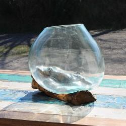 Vase en verre soufflé sur racine de Teck (VS-TECK-136)