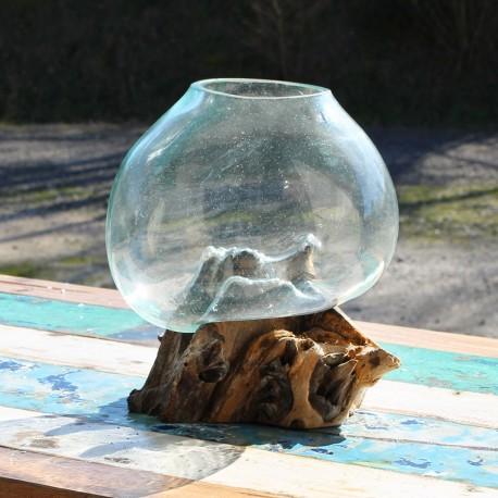 Vase en verre soufflé sur racine de Teck (VS-TECK-153)