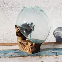 Vase en verre soufflé sur racine de Teck (VS-TECK-161)