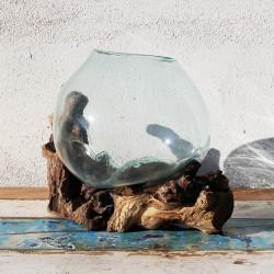 Vase en verre soufflé sur racine de Teck (VS-TECK-188)