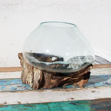 Vase en verre soufflé sur racine de Teck (VS-TECK-209)