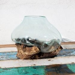Vase en verre soufflé sur racine de Teck (VS-TECK-226)