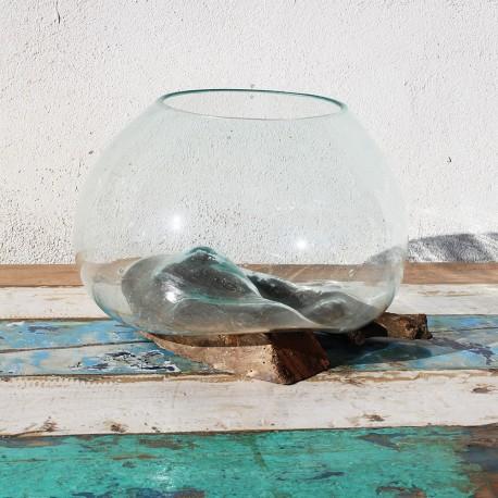 Vase en verre soufflé sur racine de Teck (VS-TECK-279)
