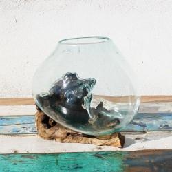 Vase en verre soufflé sur racine de Teck (VS-TECK-356)