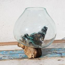 Vase en verre soufflé sur racine de Teck (VS-TECK-364)