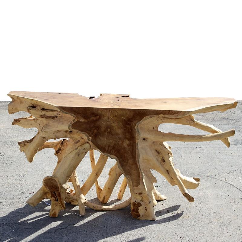 Console 160 cm racine en teck verre tec3160 002 for Console en bois flotte