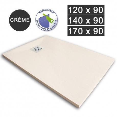 Receveur de douche extra-plat en résine 120/140/170 x 90 Crème (REC-CREME)