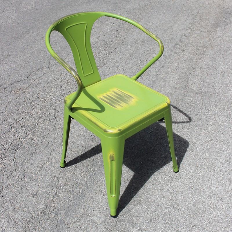 chaise r tro en m tal vieilli verte et jaune retro yellowish green. Black Bedroom Furniture Sets. Home Design Ideas