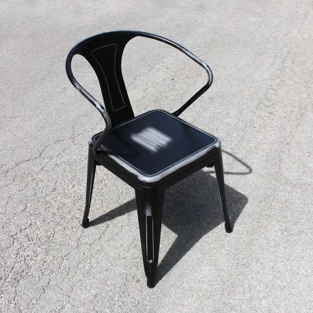 Chaise rétro en métal vieilli noir (RETRO-BLACK)