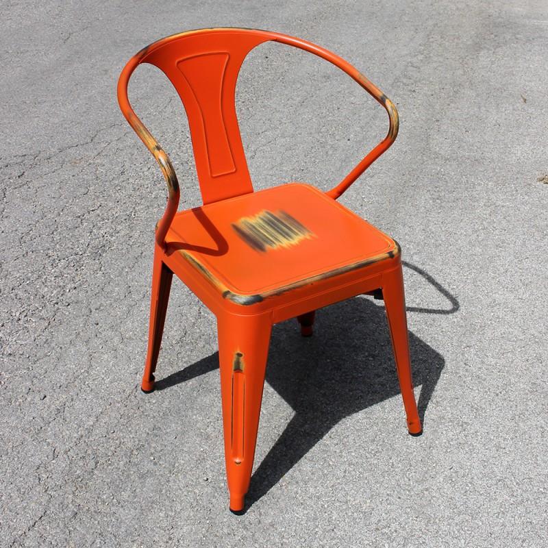chaise r tro en m tal vieilli orange retro orange. Black Bedroom Furniture Sets. Home Design Ideas