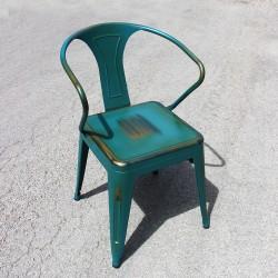 Chaise rétro en métal vieilli bleu (RETRO-PEACOCK)