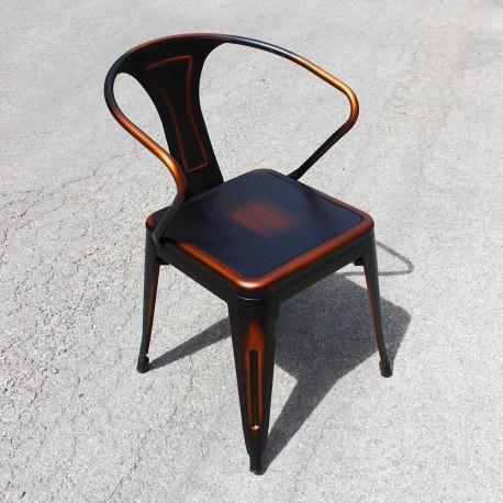 Chaise rétro en métal vieilli rouge noir (RETRO-RED-BLACK)