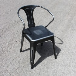 Chaise rétro en métal vieilli gris (RETRO-SILVER)