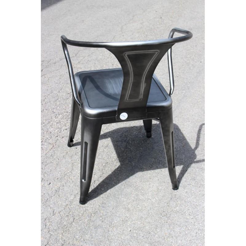 chaise r tro en m tal vieilli gris retro silver. Black Bedroom Furniture Sets. Home Design Ideas