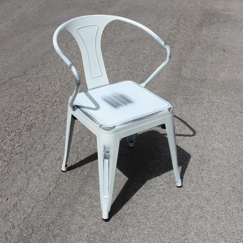 chaise r tro en m tal vieilli blanc retro white. Black Bedroom Furniture Sets. Home Design Ideas