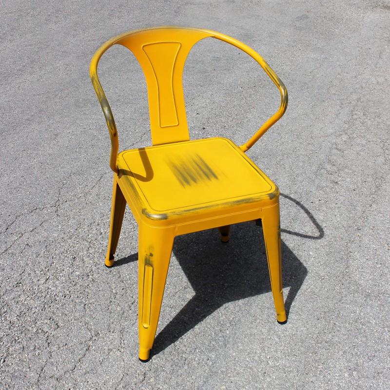 chaise r tro en m tal vieilli blanc retro yellow. Black Bedroom Furniture Sets. Home Design Ideas