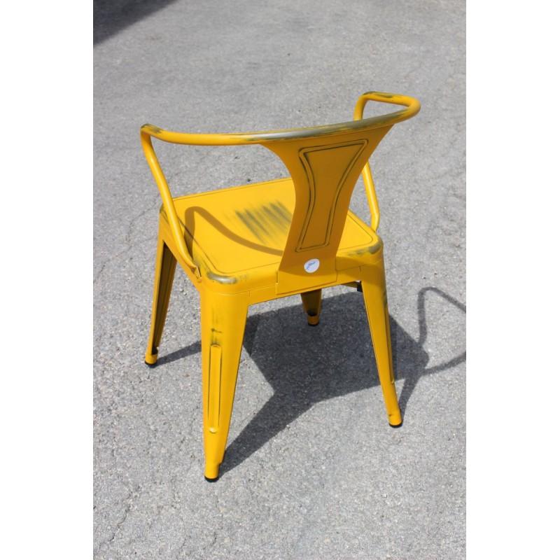 Chaise r tro en m tal vieilli blanc retro yellow for Chaise metal blanc