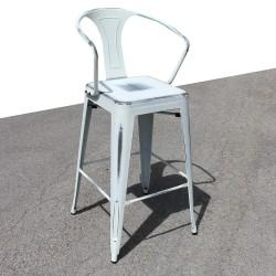 Tabouret rétro en métal vieilli blanc (TABOURET-RETRO-WHITE)