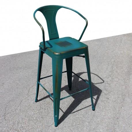Tabouret rétro en métal vieilli bleu vert (TABOURET-RETRO-PEACOCK)