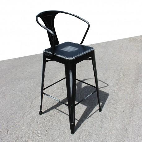 Tabouret rétro en métal vieilli noir (TABOURET-RETRO-BLACK)