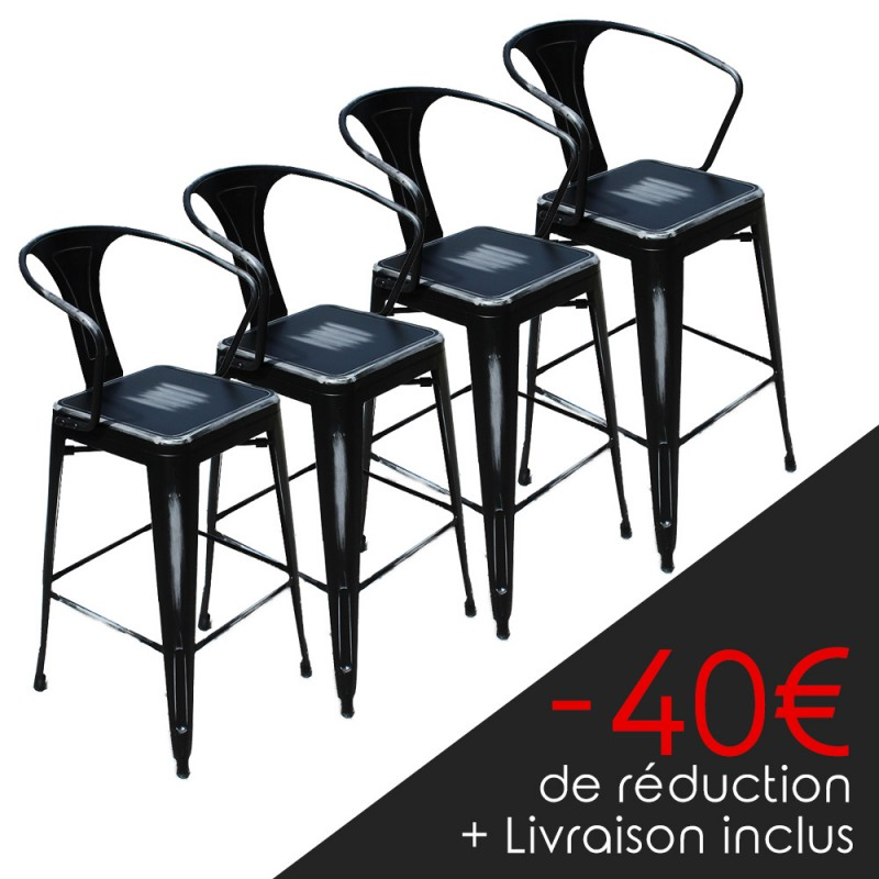 lot de 4 tabourets r tro en m tal vieilli noir lot. Black Bedroom Furniture Sets. Home Design Ideas