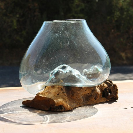 Vase en verre soufflé sur racine de Teck (VS-TECK-109)