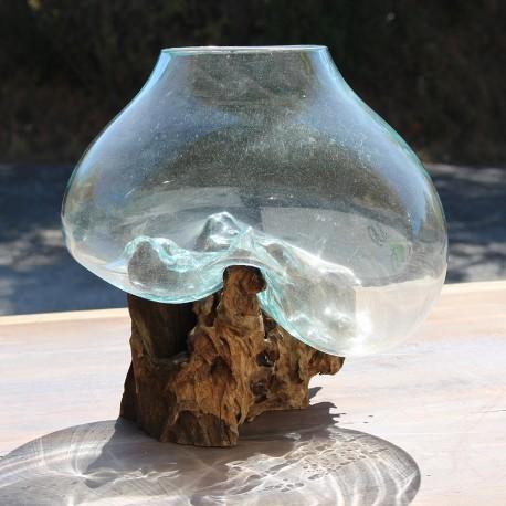 Vase en verre soufflé sur racine de Teck (VS-TECK-121)