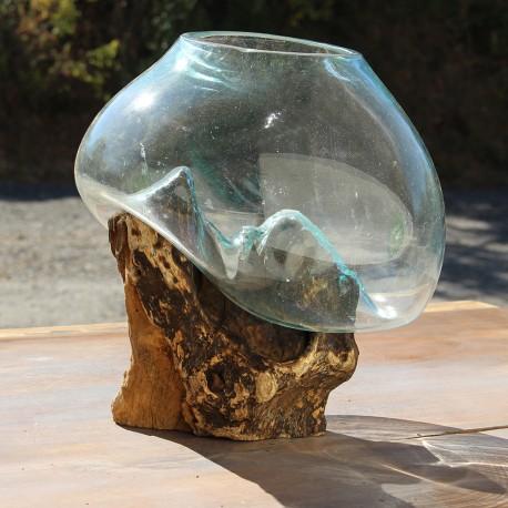 Vase en verre soufflé sur racine de Teck (VS-TECK-165)
