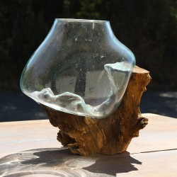 Vase en verre soufflé sur racine de Teck (VS-TECK-194)