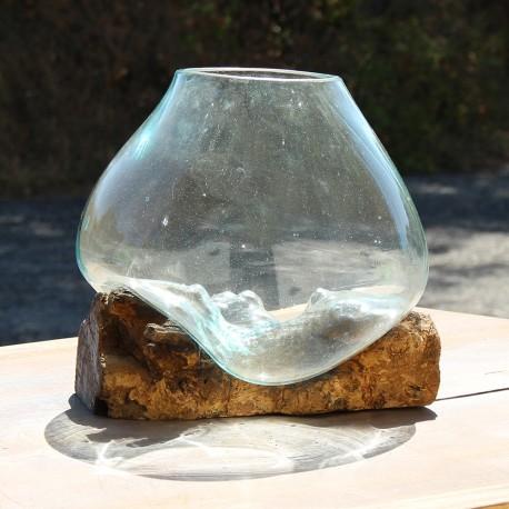 Vase en verre soufflé sur racine de Teck (VS-TECK-204)