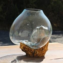Vase en verre soufflé sur racine de Teck (VS-TECK-366)