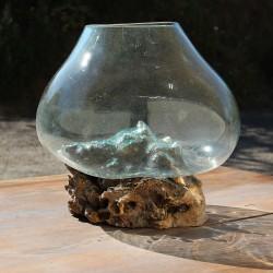 Vase en verre soufflé sur racine de Teck (VS-TECK-367)