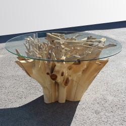 Table racine en Teck et plateau en verre Ø155cm (TEC2020)