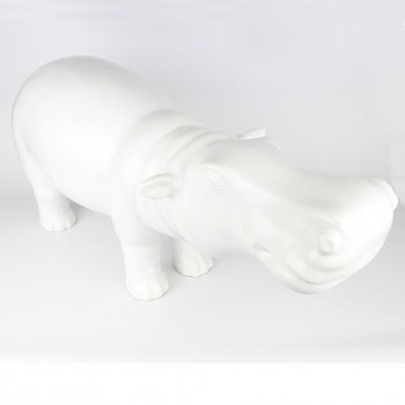 Statue Hippopotame blanche laquée (RES001BL)