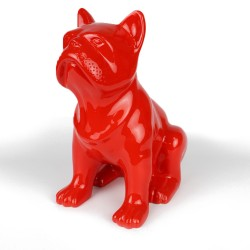 Statue Bulldog rouge laquée (RES002RO)