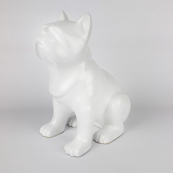 Statue Bulldog blanche laquée (RES002BL)