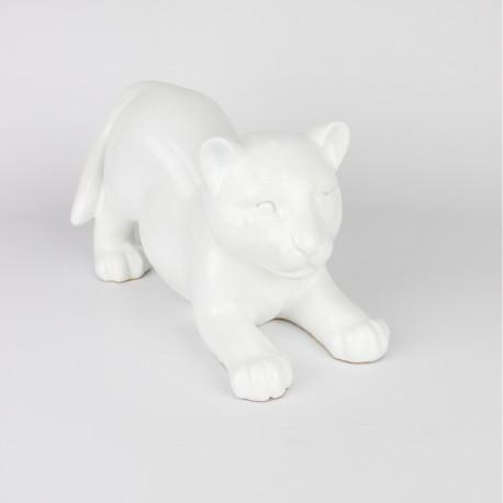 Statue Bébé Tigre blanche laquée (RES003BL)