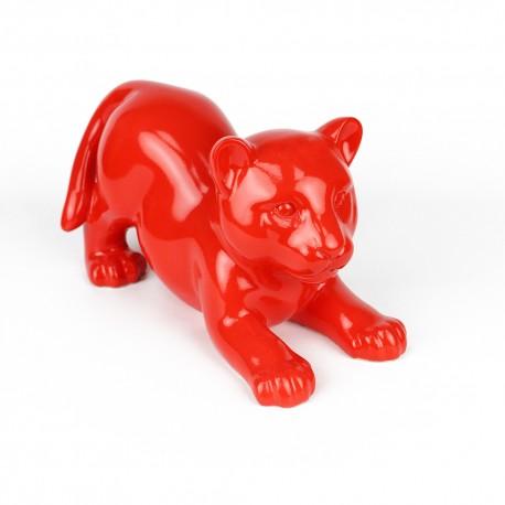 Statue Bébé Tigre rouge laquée (RES003RO)